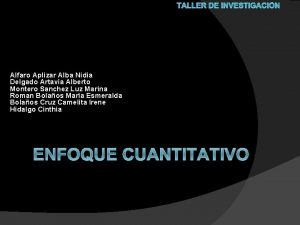 TALLER DE INVESTIGACIN Alfaro Aplizar Alba Nidia Delgado
