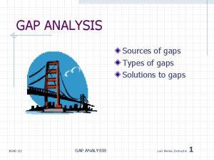 GAP ANALYSIS Sources of gaps Types of gaps