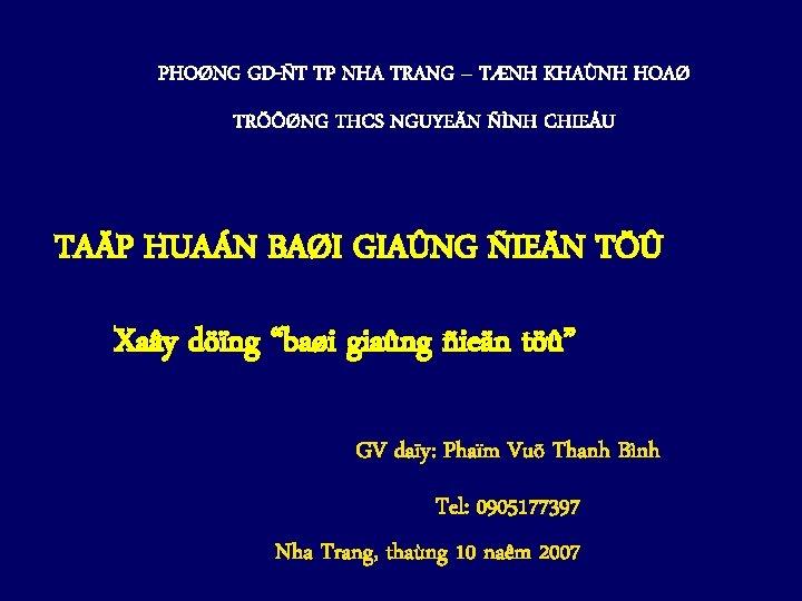 PHONG GDT TP NHA TRANG TNH KHANH HOA