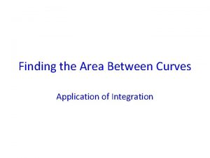 Finding the Area Between Curves Application of Integration