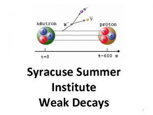 Syracuse Summer Institute Weak Decays 1 Weak Interactions