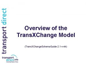 Overview of the Trans XChange Model Trans XChange