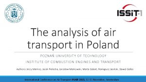 The analysis of air transport in Poland POZNA