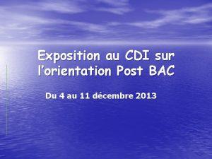 Exposition au CDI sur lorientation Post BAC Du