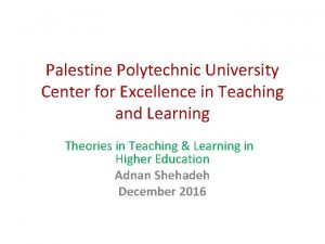 Palestine Polytechnic University Center for Excellence in Teaching
