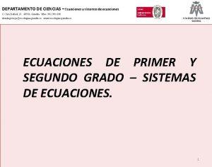 DEPARTAMENTO DE CIENCIAS Ecuaciones y sistemas de ecuaciones