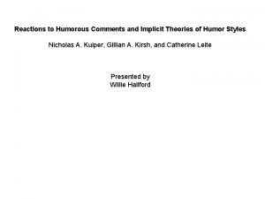 Reactions to Humorous Comments and Implicit Theories of