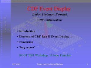 CDF Event Display Dmitry Litvintsev Fermilab CDF Collaboration