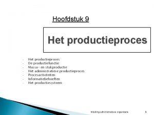 Hoofdstuk 9 Het productieproces Het productieproces De productiefunctie