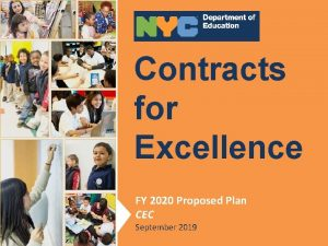 Contracts for Contracts Excellence for Excellence FY Proposed