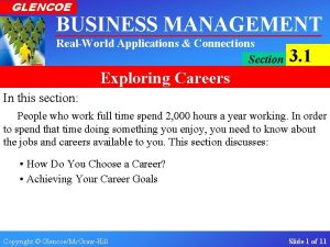 GLENCOE BUSINESS MANAGEMENT RealWorld Applications Connections Section 3