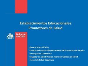 Establecimientos Educacionales Promotores de Salud Roxana Viera Villaln