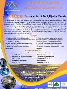 International Chemical Engineering Congress 2013 ICEC 2013 December