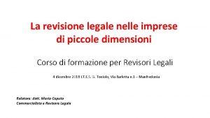 La revisione legale nelle imprese di piccole dimensioni