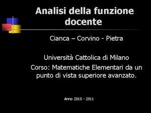 Analisi della funzione docente Cianca Corvino Pietra Universit