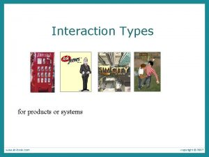 Interaction Types for products or systems Interaction types