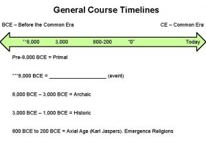 General Course Timelines BCE Before the Common Era