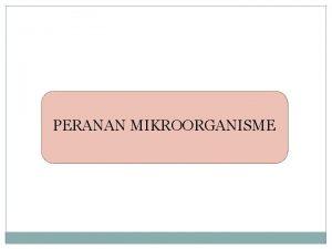 PERANAN MIKROORGANISME Peranan Mikroorganisme Peran Positif Peran Negatif