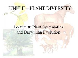 UNIT II PLANT DIVERSITY Lecture 8 Plant Systematics