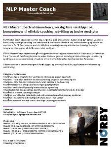 NLP Master Coach Skab enestende forandringer NLP Master
