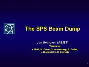 The SPS Beam Dump Jan Uythoven ABBT Thanks