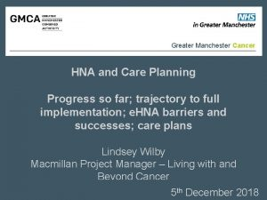 Greater Manchester Cancer HNA and Care Planning Progress