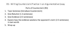 R 3 Writing Counterclaim Practice in an Argumentative