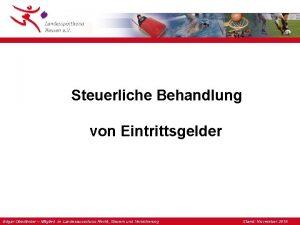 Steuerliche Behandlung von Eintrittsgelder Edgar Oberlnder Mitglied im