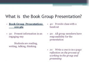 What is the Book Group Presentation Book Group