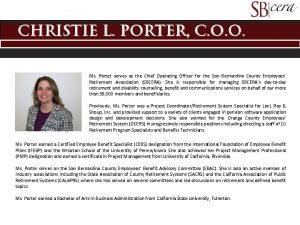 Christie L Porter C O O Ms Porter