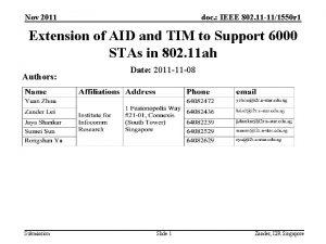 Nov 2011 doc IEEE 802 11 111550 r