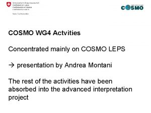 COSMO WG 4 Actvities Concentrated mainly on COSMO