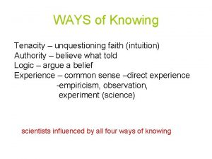 WAYS of Knowing Tenacity unquestioning faith intuition Authority