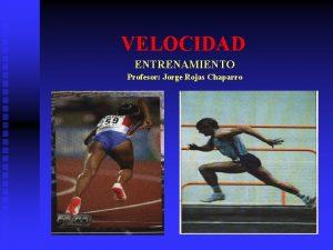 VELOCIDAD ENTRENAMIENTO Profesor Jorge Rojas Chaparro Condicin neuromuscular