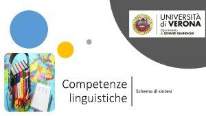 Competenze linguistiche Schema di sintesi Le conoscenze linguistiche