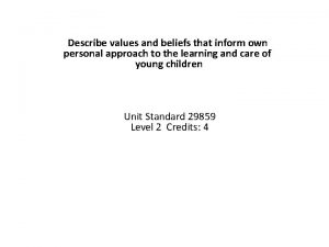 Describe values and beliefs that inform own personal