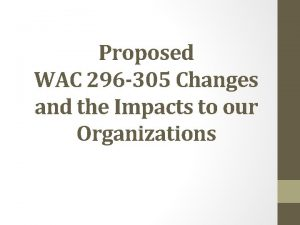 Proposed WAC 296 305 Changes and the Impacts