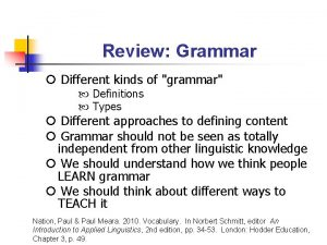 Review Grammar Different kinds of grammar Definitions Types