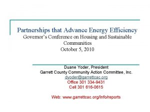Partnerships that Advance Energy Efficiency Governors Conference on