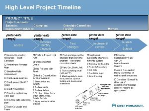 High Level Project Timeline PROJECT TITLE Project CoLeads