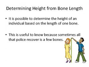 Determining Height from Bone Length It is possible
