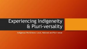 Experiencing Indigeneity Pluriversality Indigenous Worldviews Local National and