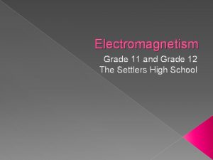 Electromagnetism Grade 11 and Grade 12 The Settlers