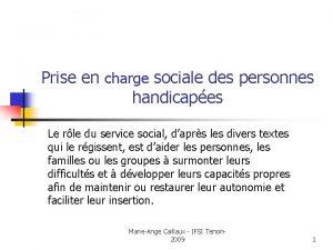 Prise en charge sociale des personnes handicapes Le