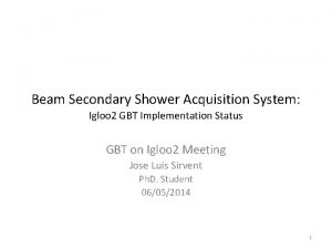 Beam Secondary Shower Acquisition System Igloo 2 GBT