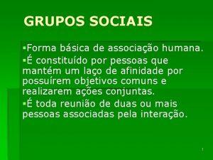 GRUPOS SOCIAIS Forma bsica de associao humana constitudo