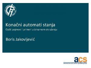 Konani automati stanja Opti pojmovi i primeri u