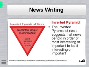 News Writing Most interesting or most important Least