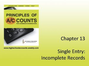 Chapter 13 Single Entry Incomplete Records Introduction Incomplete