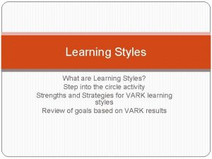 Learning Styles What are Learning Styles Step into